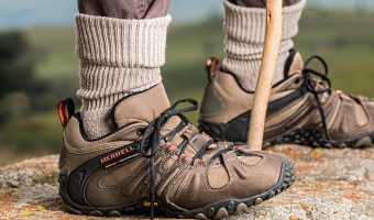 closeup on hiking shoes