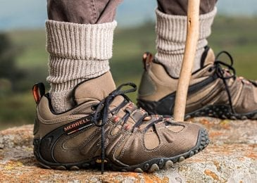 closeup on hiking shoes