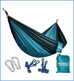 Foxelli 1 Camping hammock ultralight nylon portable parachute with carabiners included