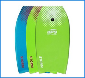 STORM Bodyboard by BPS - includes BPS PREMIUM Coiled Leash and Swim Fin Tethers