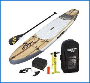 """THURSO SURF Inflatable SUP Stand Up Paddleboard 11' x 32"""" x 6"""", Includes 3 Piece Adjustable Carbon Shaft Paddle"""