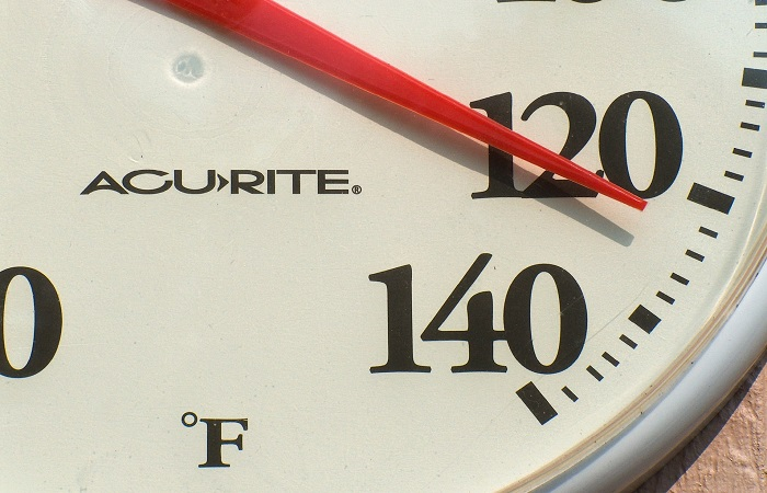 closeup on the face of an acurite thermometer