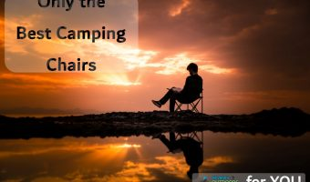 man reading in the best camping chair at sunset