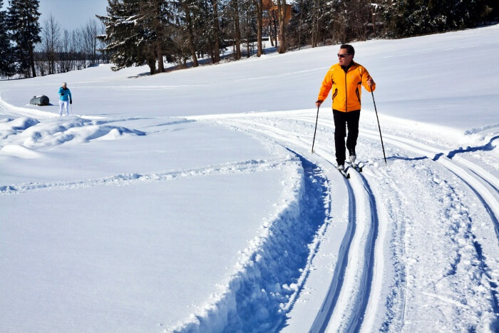 cross country skier on snowy trail
