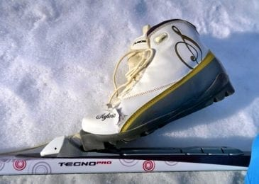 closeup on a ski boot placed on snow