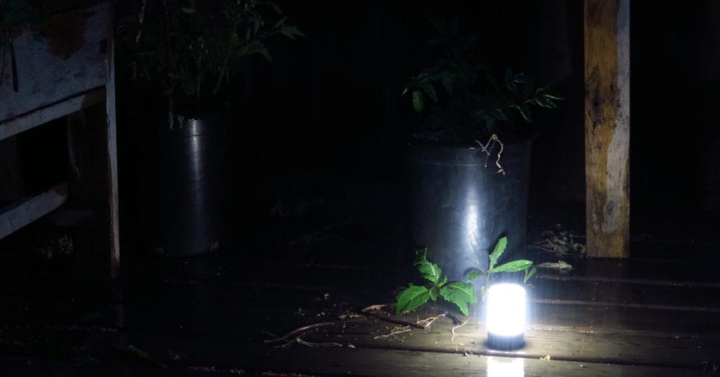 beamding camping light on porch in darkness