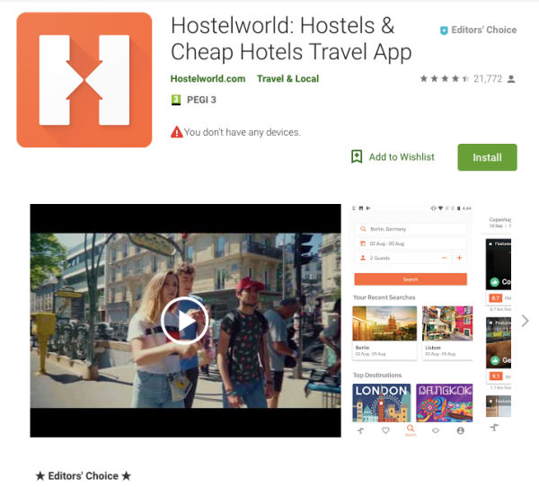 hostelworld app screenshot