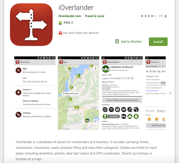 ioverlander app screenshot