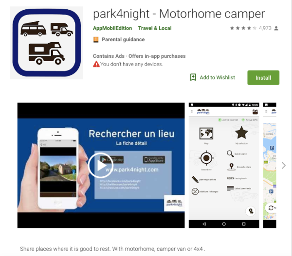 park4night app screenshot