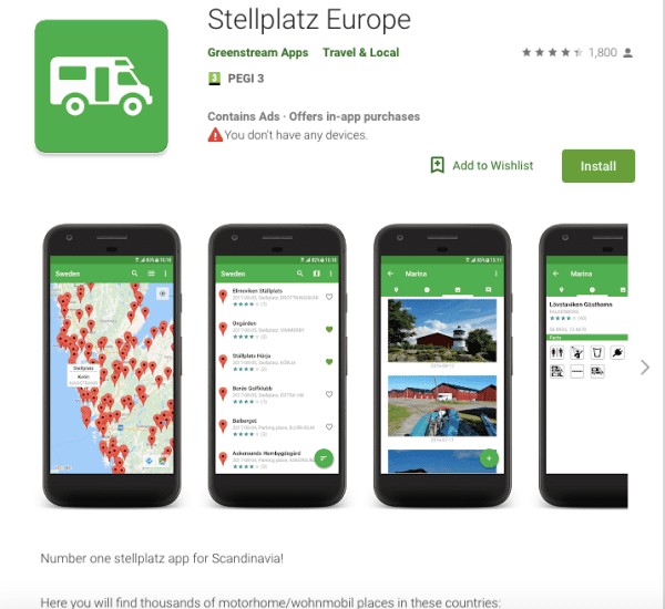 stellplatz europe app screenshot