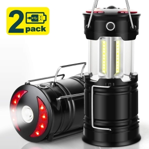 EZORKAS 2 Pack Camping Lanterns, Rechargeable Led Lanterns