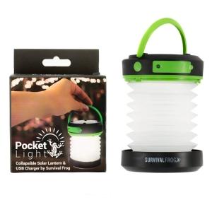 Pocket Light LED Solar Camping Lantern & Collapsible Flashlight