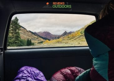 best sleeping bags in car looking at mountain scenery