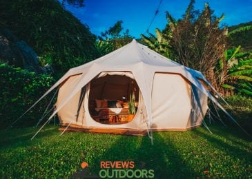 camping tent with camping pillows in backyard
